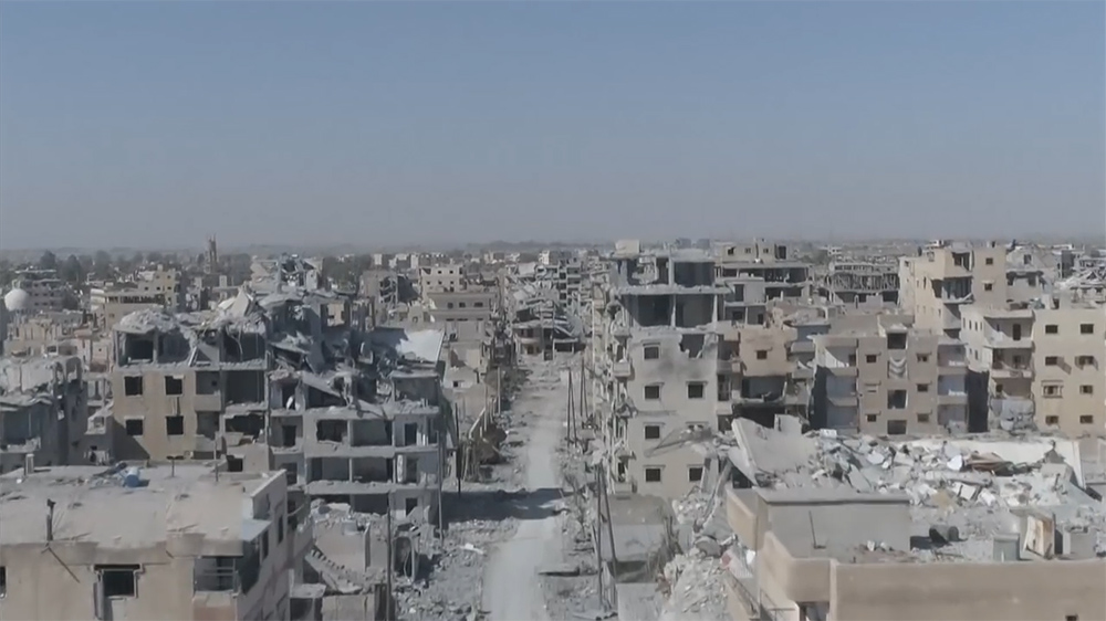 Raqqa in ruins- Drone buzzes Syrian city